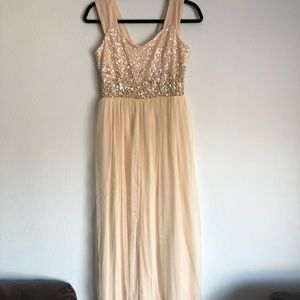 Long Champagne Dress w/ Sparkles